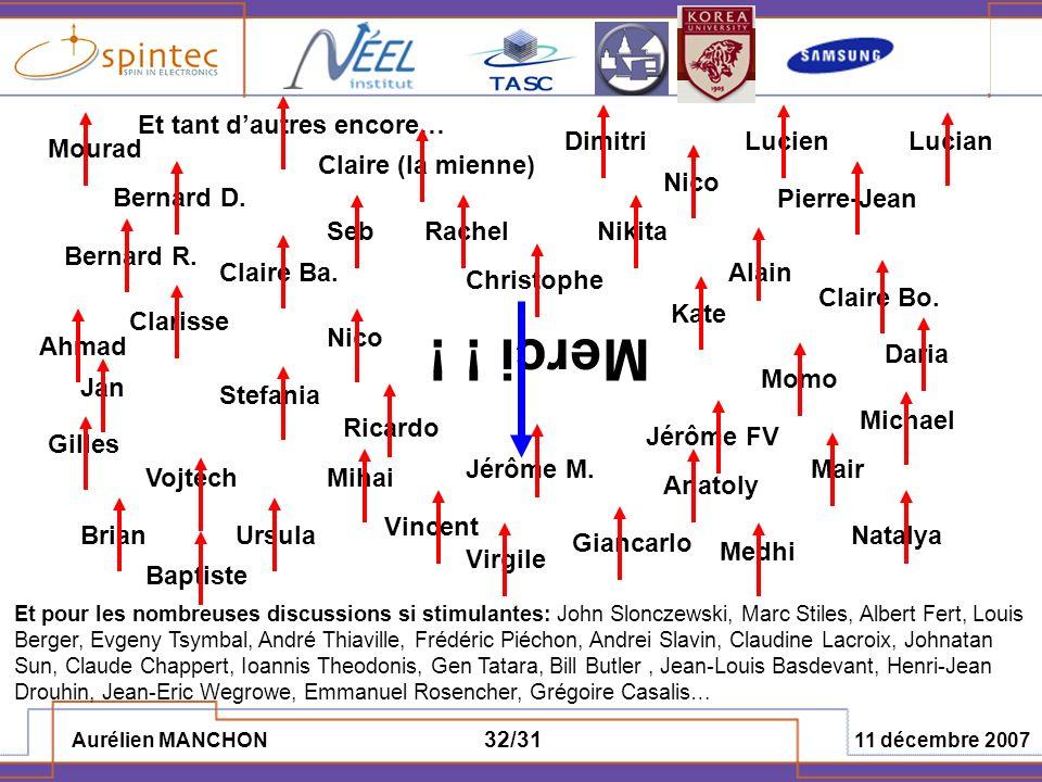 Aurélien MANCHON 11 décembre 2007 32/31 Merci ! ! Et pour les nombreuses discussions si stimulantes: John Slonczewski, Marc Stiles, Albert Fert, Louis