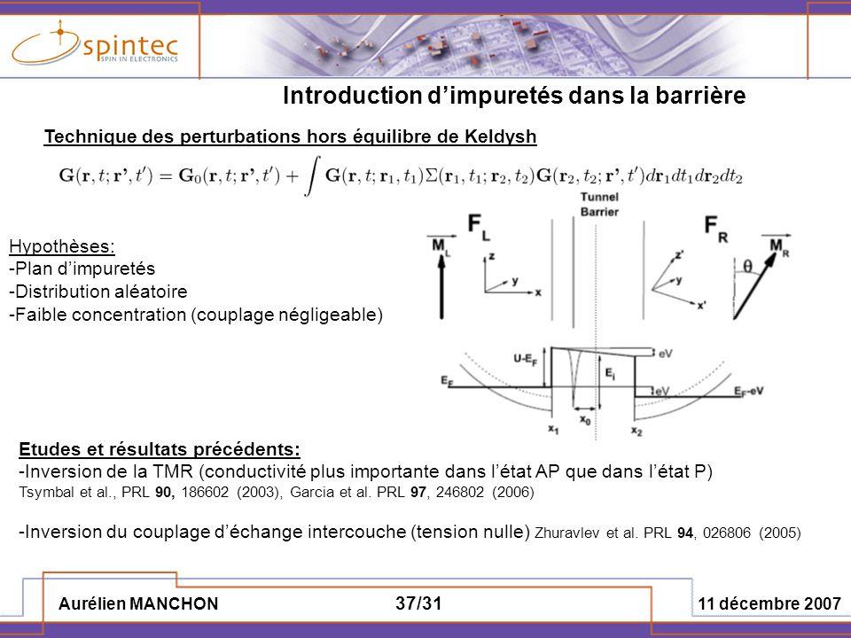 Aurélien MANCHON 11 décembre 2007 37/31 Introduction dimpuretés dans la barrière Technique des perturbations hors équilibre de Keldysh Hypothèses: -Pl