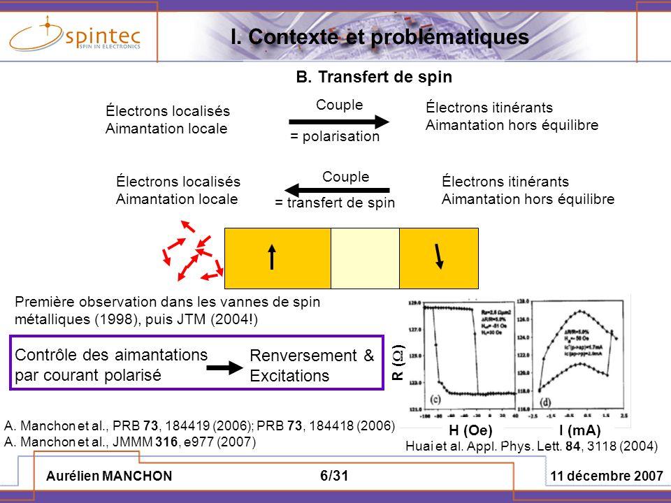 Aurélien MANCHON 11 décembre 2007 37/31 Introduction dimpuretés dans la barrière Technique des perturbations hors équilibre de Keldysh Hypothèses: -Plan dimpuretés -Distribution aléatoire -Faible concentration (couplage négligeable) Etudes et résultats précédents: -Inversion de la TMR (conductivité plus importante dans létat AP que dans létat P) Tsymbal et al., PRL 90, 186602 (2003), Garcia et al.