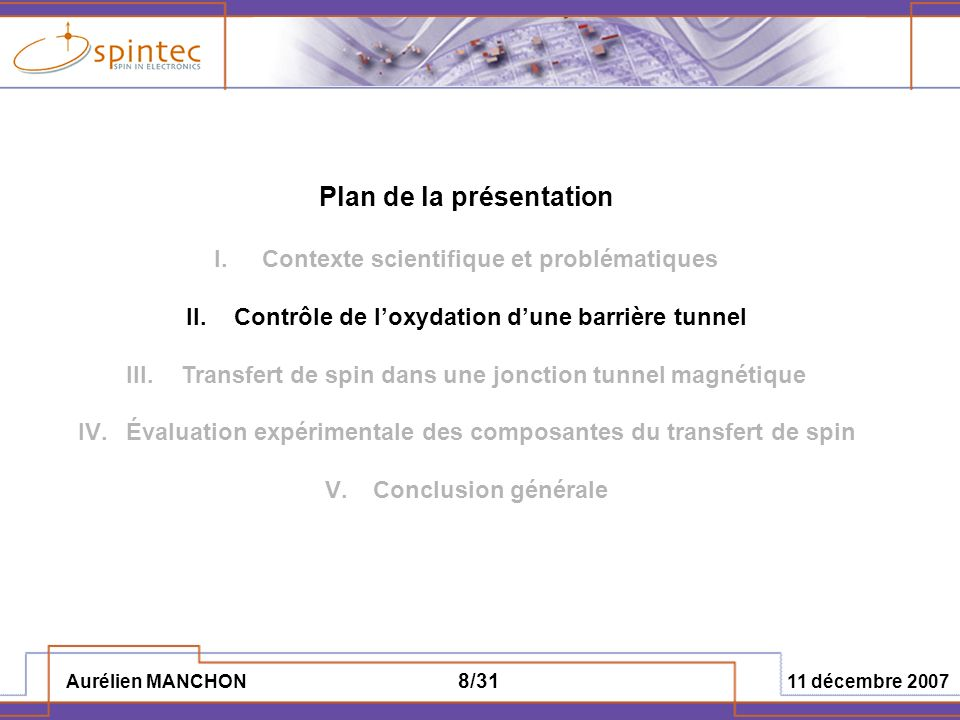 Aurélien MANCHON 11 décembre 2007 8/31 Plan de la présentation I.Contexte scientifique et problématiques II.Contrôle de loxydation dune barrière tunne