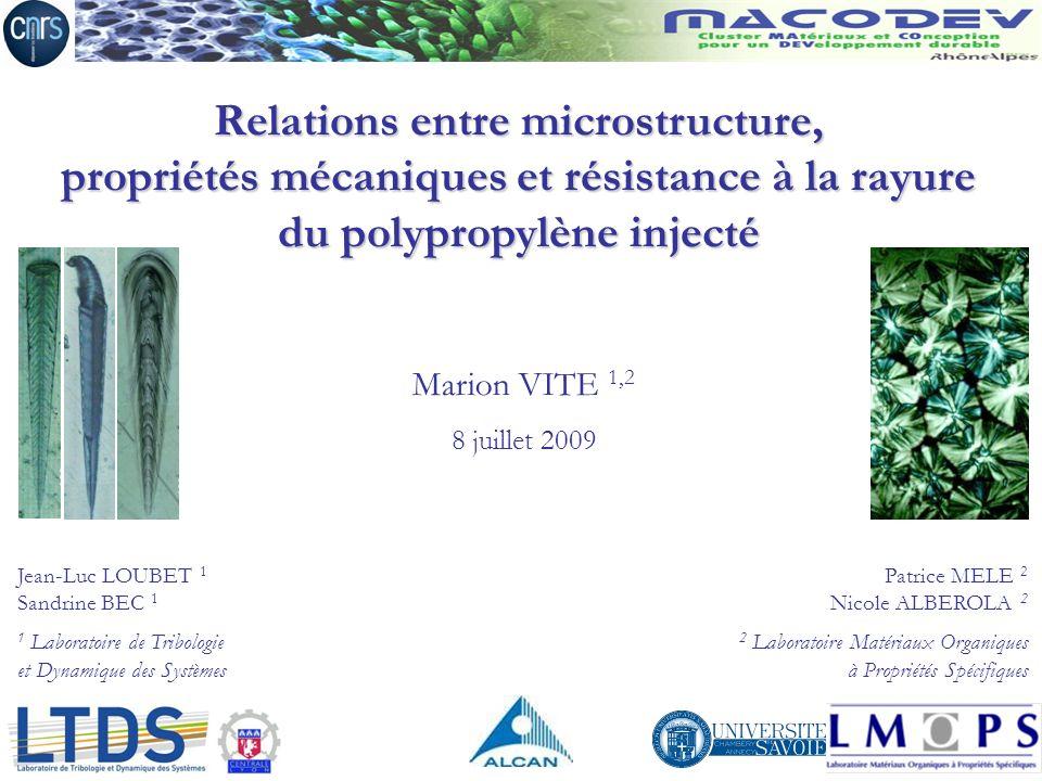 Jean-Luc LOUBET 1 Sandrine BEC 1 1 Laboratoire de Tribologie et Dynamique des Systèmes Patrice MELE 2 Nicole ALBEROLA 2 2 Laboratoire Matériaux Organi
