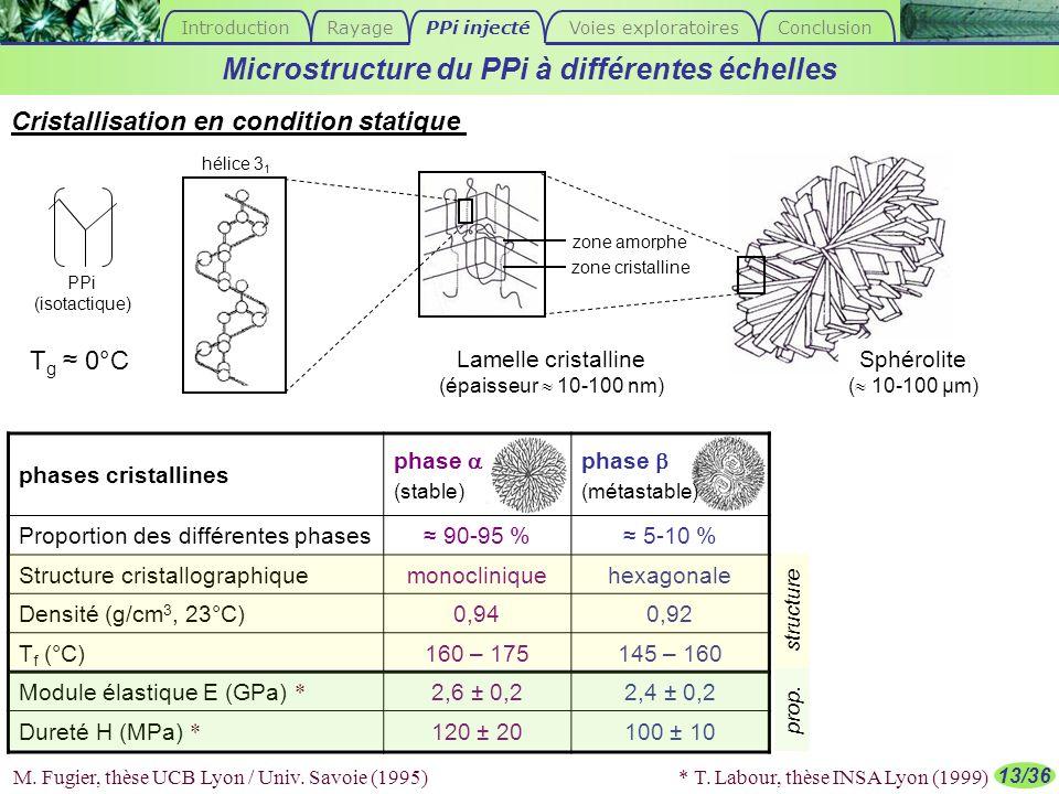 13/36 Microstructure du PPi à différentes échelles Sphérolite ( 10-100 µm) Lamelle cristalline (épaisseur 10-100 nm) Cristallisation en condition stat