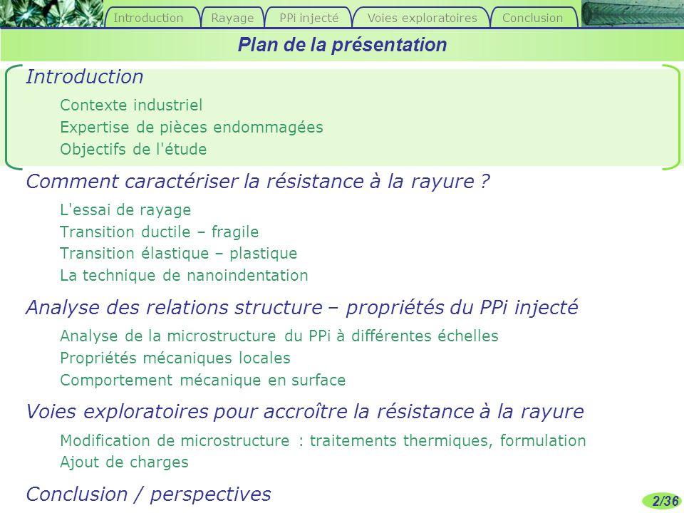 2/36 Introduction Contexte industriel Expertise de pièces endommagées Objectifs de l'étude Comment caractériser la résistance à la rayure ? L'essai de
