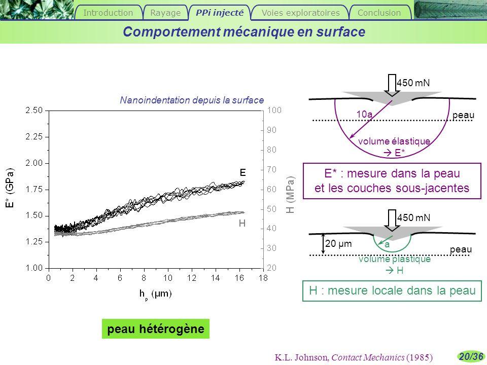 20/36 a 10a volume plastique H volume élastique E* H : mesure locale dans la peau Comportement mécanique en surface peau 450 mN 20 µm E* : mesure dans