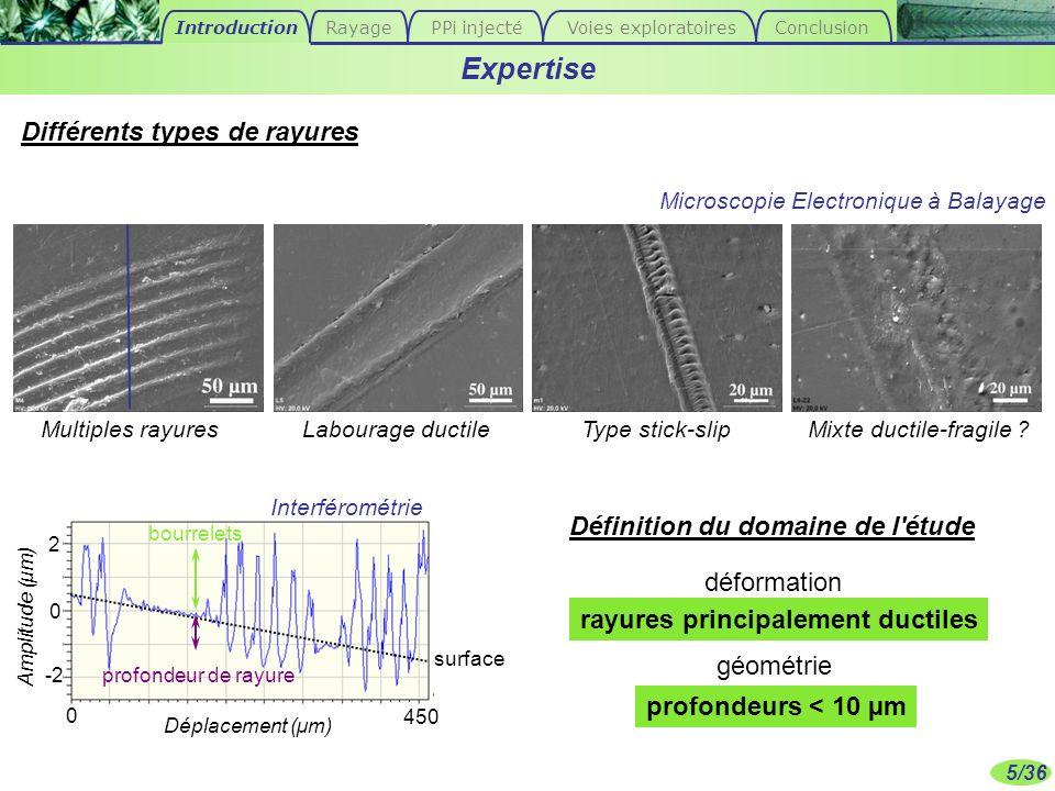 5/36 rayures principalement ductiles surface bourrelets profondeur de rayure Expertise Déplacement (µm) Amplitude (µm) 0 2 -2 0 450 Définition du doma
