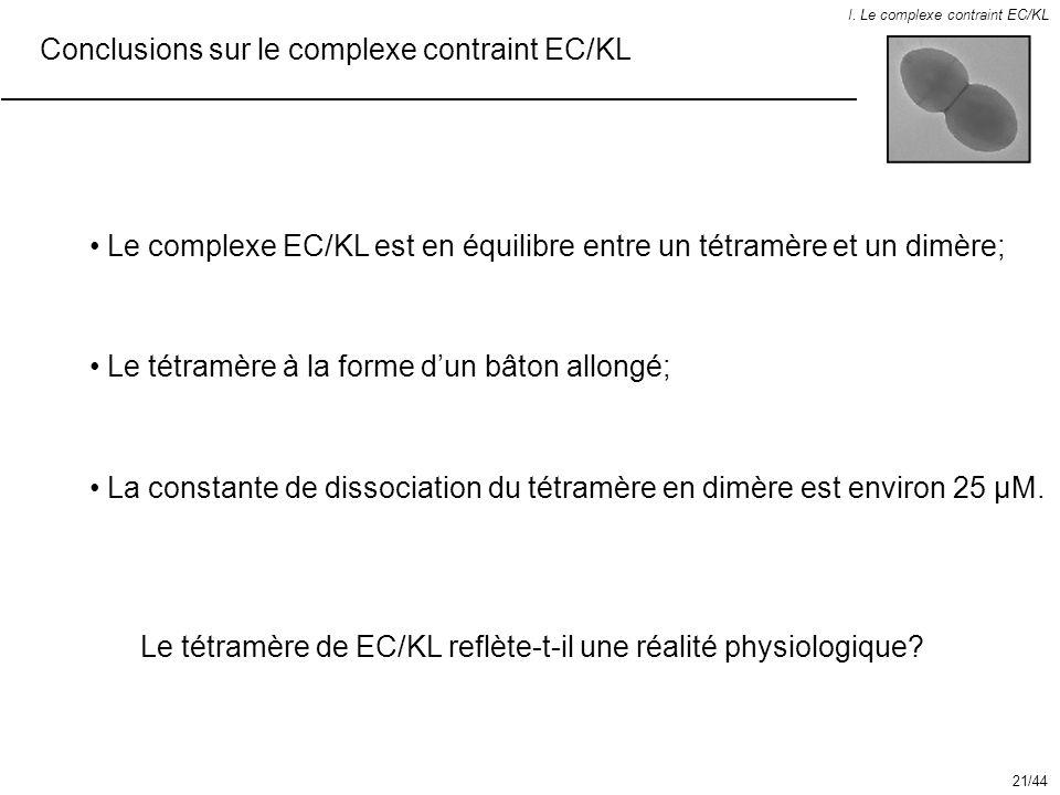 Conclusions sur le complexe contraint EC/KL I. Le complexe contraint EC/KL Le tétramère à la forme dun bâton allongé; Le complexe EC/KL est en équilib