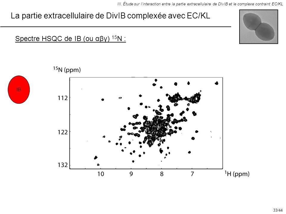 La partie extracellulaire de DivIB complexée avec EC/KL III. Étude sur linteraction entre la partie extracellulaire de DIvIB et le complexe contraint
