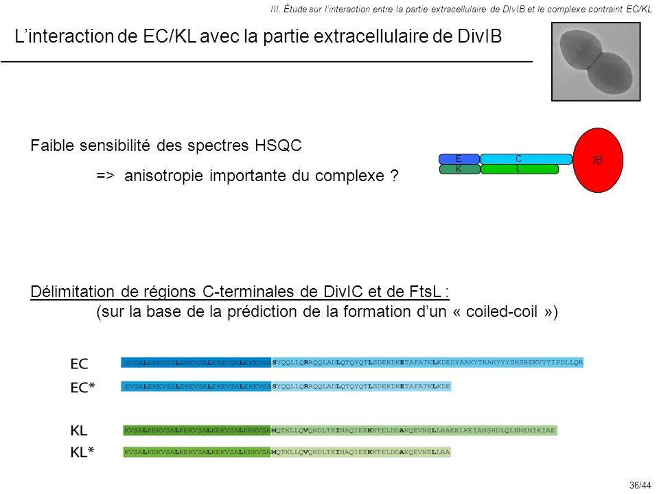Linteraction de EC/KL avec la partie extracellulaire de DivIB III. Étude sur linteraction entre la partie extracellulaire de DIvIB et le complexe cont
