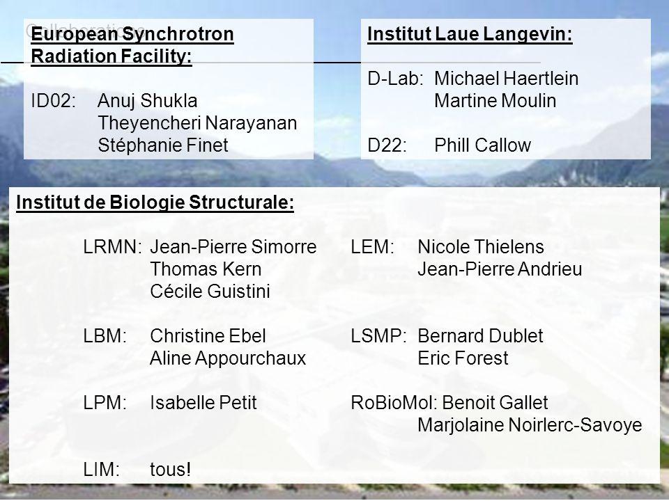 Collaborations Institut de Biologie Structurale: LRMN: Jean-Pierre SimorreLEM:Nicole Thielens Thomas KernJean-Pierre Andrieu Cécile Guistini LBM: Chri