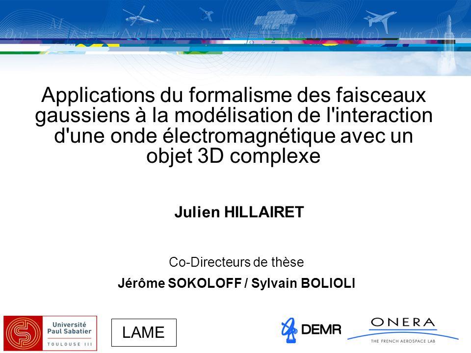 Page 32/47 Julien Hillairet, jeudi 6 décembre 2007 Diffraction 3D d un FG Application numérique (1) dB Plaque : taille : 20 x20 FG incident : centre en (x,y,z)=(10,0,10 ) angle zenith : 0° angle azimuth : 0° Observation : angles zenith : -90° à 90° angle azimuth: 0° distance obs : 1000 composante E Légende : Intégration numérique OP Expr.