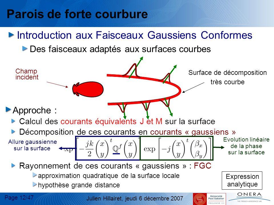 Page 12/47 Julien Hillairet, jeudi 6 décembre 2007 Parois de forte courbure Introduction aux Faisceaux Gaussiens Conformes Des faisceaux adaptés aux s