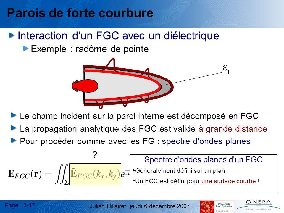 Page 13/47 Julien Hillairet, jeudi 6 décembre 2007 Parois de forte courbure Interaction d'un FGC avec un diélectrique Exemple : radôme de pointe r Le