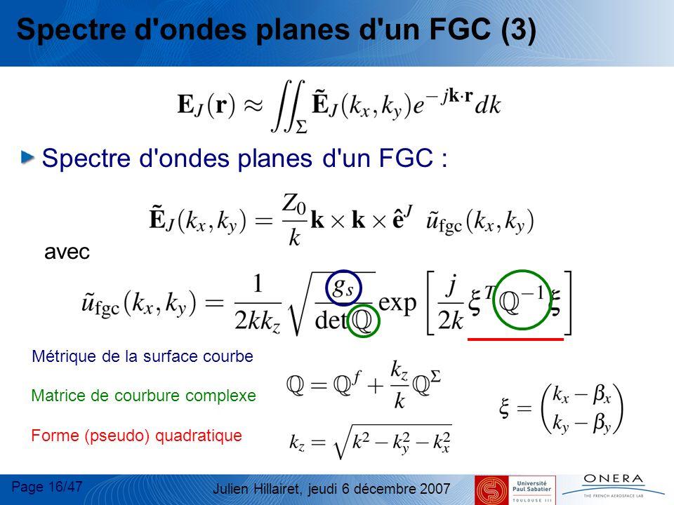 Page 16/47 Julien Hillairet, jeudi 6 décembre 2007 Spectre d'ondes planes d'un FGC (3) avec Spectre d'ondes planes d'un FGC : Métrique de la surface c