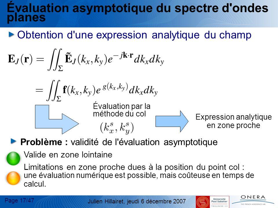 Page 17/47 Julien Hillairet, jeudi 6 décembre 2007 Évaluation par la méthode du col Expression analytique en zone proche Évaluation asymptotique du sp