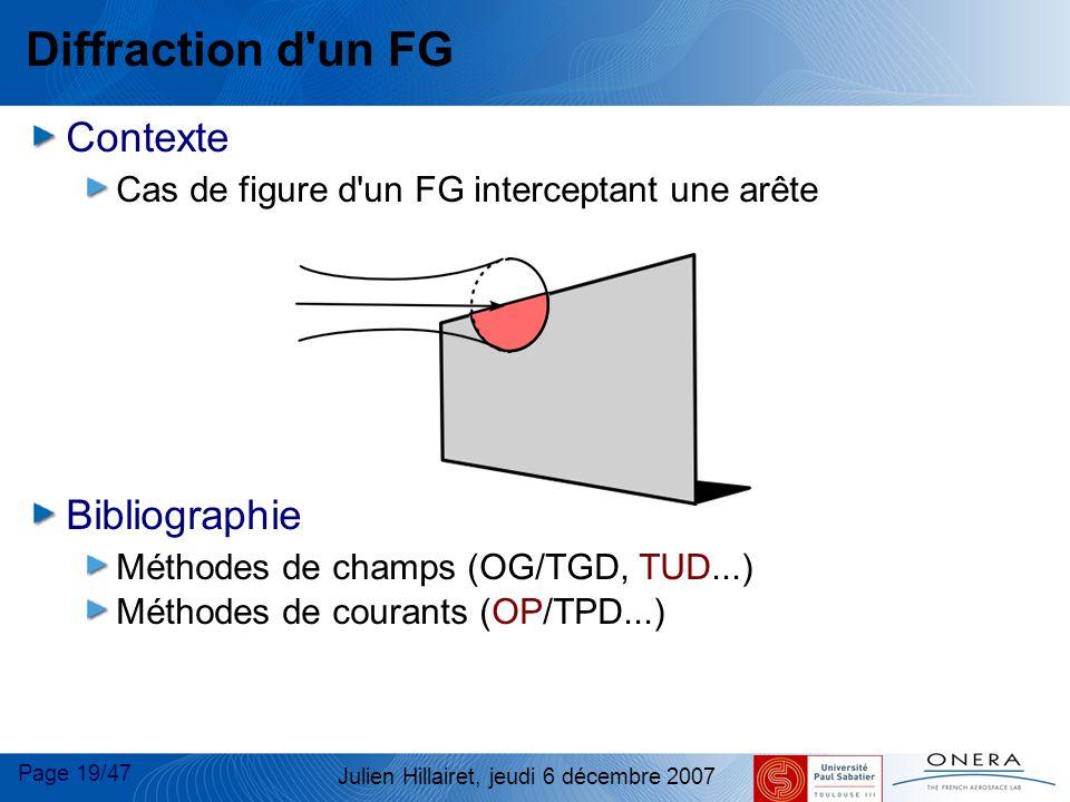 Page 19/47 Julien Hillairet, jeudi 6 décembre 2007 Diffraction d'un FG Contexte Cas de figure d'un FG interceptant une arête Bibliographie Méthodes de