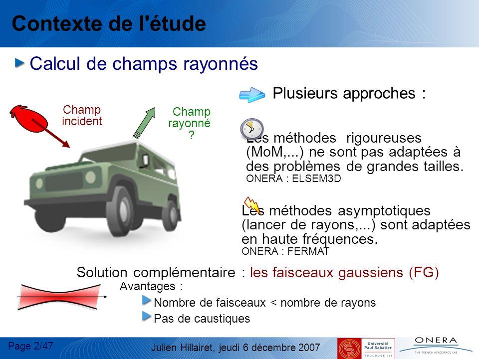 Page 53/47 Julien Hillairet, jeudi 6 décembre 2007 Application du spectre d ondes planes d un FGC Champs transmis
