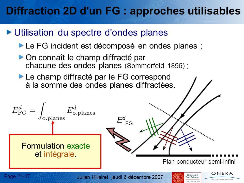 Page 21/47 Julien Hillairet, jeudi 6 décembre 2007 Diffraction 2D d'un FG : approches utilisables Utilisation du spectre d'ondes planes Le FG incident