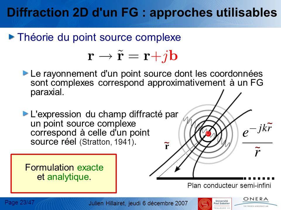 Page 23/47 Julien Hillairet, jeudi 6 décembre 2007 Diffraction 2D d'un FG : approches utilisables Théorie du point source complexe Le rayonnement d'un