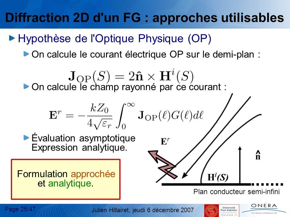 Page 25/47 Julien Hillairet, jeudi 6 décembre 2007 Diffraction 2D d'un FG : approches utilisables Hypothèse de l'Optique Physique (OP) On calcule le c