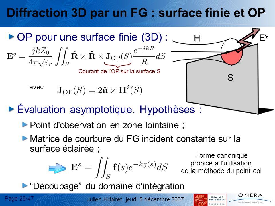 Page 29/47 Julien Hillairet, jeudi 6 décembre 2007 S Diffraction 3D par un FG : surface finie et OP OP pour une surface finie (3D) : Évaluation asympt