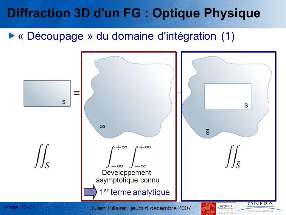 Page 30/47 Julien Hillairet, jeudi 6 décembre 2007 Développement asymptotique connu 1 er terme analytique Diffraction 3D d'un FG : Optique Physique «