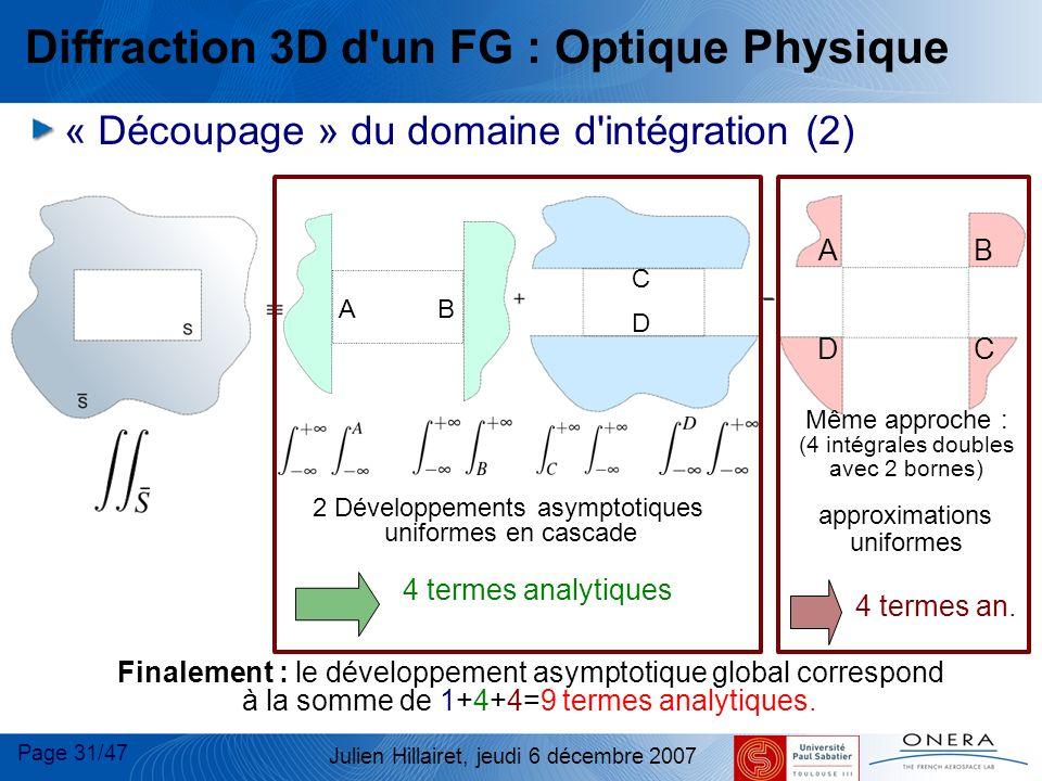 Page 31/47 Julien Hillairet, jeudi 6 décembre 2007 AB DC Même approche : (4 intégrales doubles avec 2 bornes) approximations uniformes A B C D 4 terme