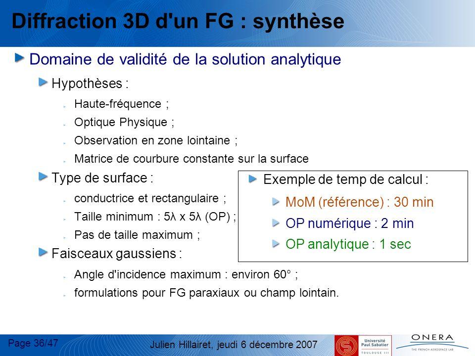 Page 36/47 Julien Hillairet, jeudi 6 décembre 2007 Diffraction 3D d'un FG : synthèse Domaine de validité de la solution analytique Hypothèses : Haute-