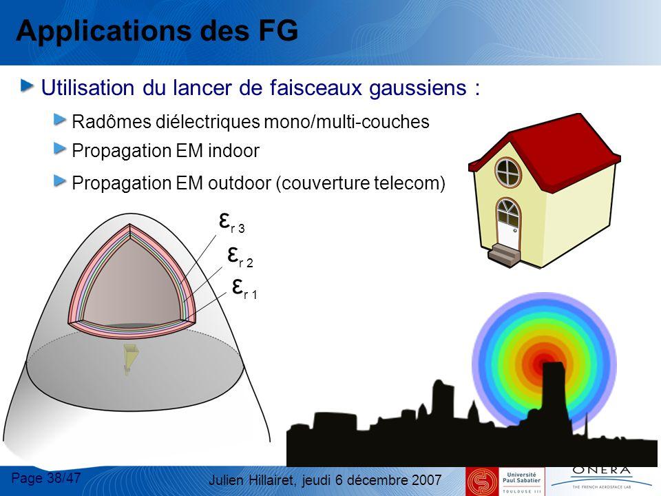 Page 38/47 Julien Hillairet, jeudi 6 décembre 2007 Applications des FG Utilisation du lancer de faisceaux gaussiens : Radômes diélectriques mono/multi