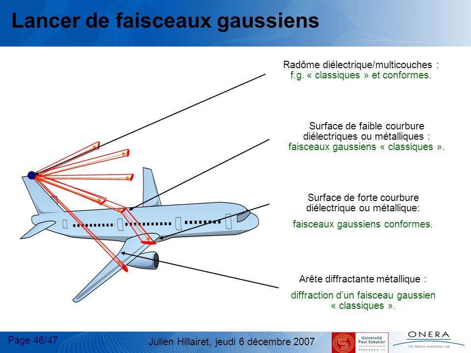 Page 46/47 Julien Hillairet, jeudi 6 décembre 2007 Lancer de faisceaux gaussiens Surface de faible courbure diélectriques ou métalliques : faisceaux g