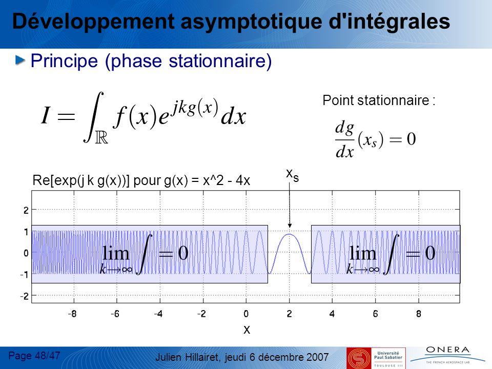 Page 48/47 Julien Hillairet, jeudi 6 décembre 2007 Re[exp(j k g(x))] pour g(x) = x^2 - 4x x Développement asymptotique d'intégrales Principe (phase st