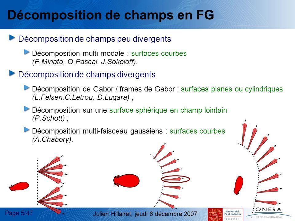 Page 6/47 Julien Hillairet, jeudi 6 décembre 2007 Faisceaux Gaussiens Un FG est un faisceau dont : L amplitude transverse est gaussienne La propagation peut se formuler analytiquement E(x,y,z=0) Plan transverse Décomposition en spectre d ondes planes du champ dans le plan initial (analytique) Méthodes asymptotiques Propagation du faisceau Formulations analytiques E(x,y,z=0)