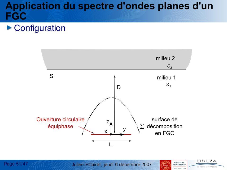 Page 51/47 Julien Hillairet, jeudi 6 décembre 2007 Application du spectre d'ondes planes d'un FGC Configuration