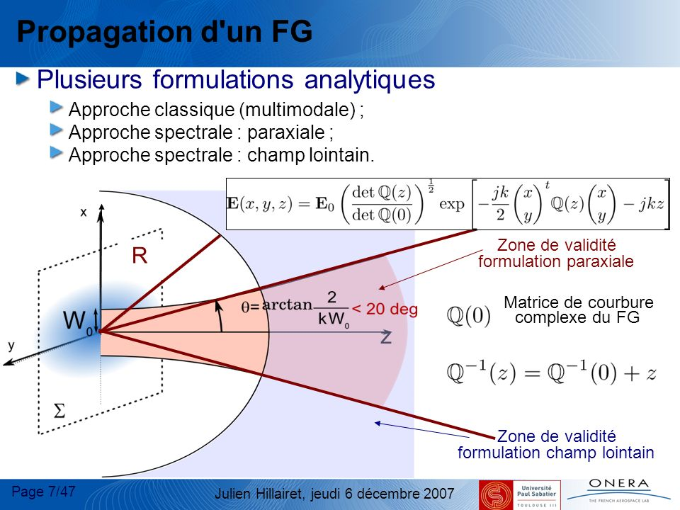 Page 8/47 Julien Hillairet, jeudi 6 décembre 2007 Interaction d un FG Interaction d un FG avec une surface courbe 1 FG incident 1 FG Réfléchi et 1 FG Transmis (lois ABCD/phase matching) 1 FG incident Champs Réfléchi et Transmis (coefficients R&T analytiques puis décomposition en FG) Surface très courbe : Faisceaux Gaussiens Conformes