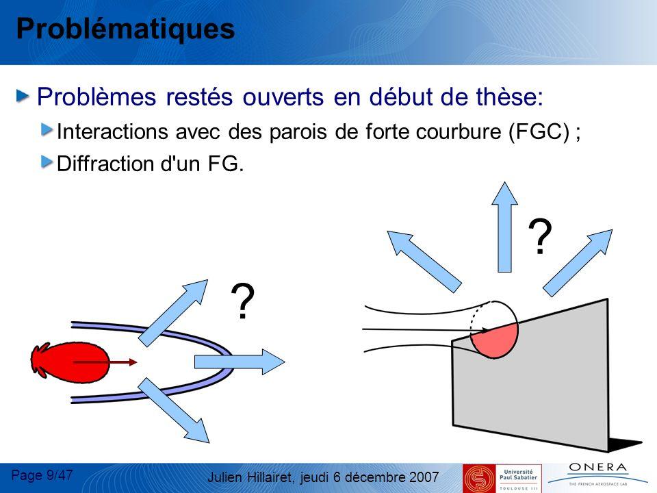 Page 20/47 Julien Hillairet, jeudi 6 décembre 2007 Diffraction 2D d un FG : approches utilisables Cas d un plan semi-infini (problème 2D) : Deux solutions exactes : Utilisation du Spectre d Ondes Planes (SOP) ; Théorie du Point Source Complexe (PSC).