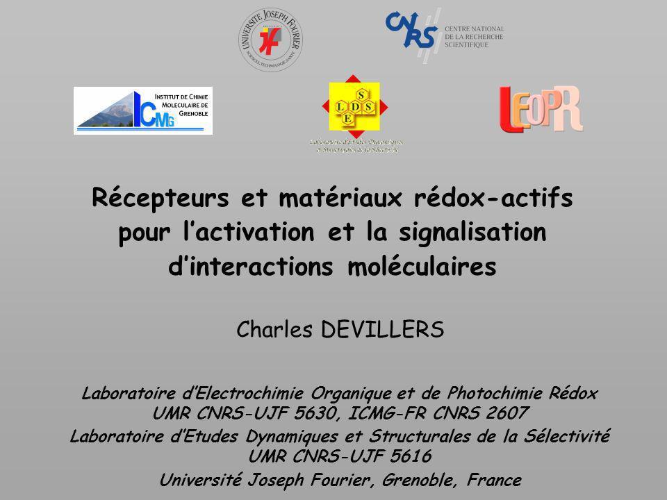 Récepteurs à plusieurs sonde rédox Molécules à n centres rédox chimiquement identiques, indépendants, en labsence de réorganisation moléculaire ou de changement de solvatation : 35,6 57,0 71,2 E 1/2 obs E 1 F -E n F (mV) n = 2 n = 3 n = 4