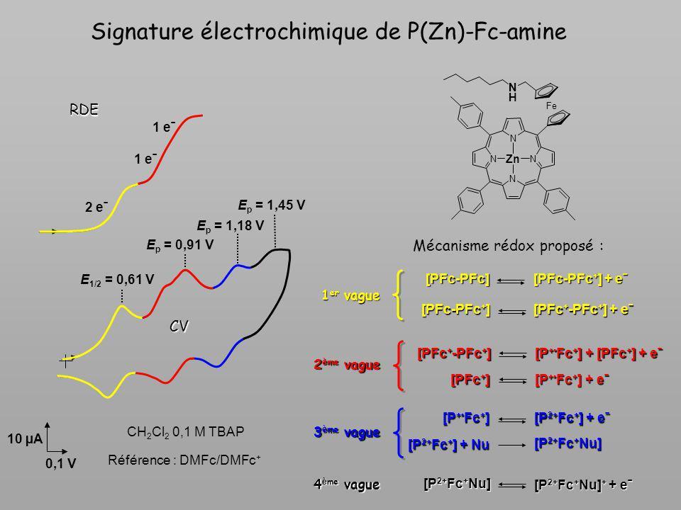 Signature électrochimique de P(Zn)-Fc-amine [P 2+ Fc + Nu] + + eˉ [P 2+ Fc + Nu] 4 è me vague [PFc-PFc + ] + eˉ [PFc-PFc] [PFc + -PFc + ] + eˉ [PFc-PF