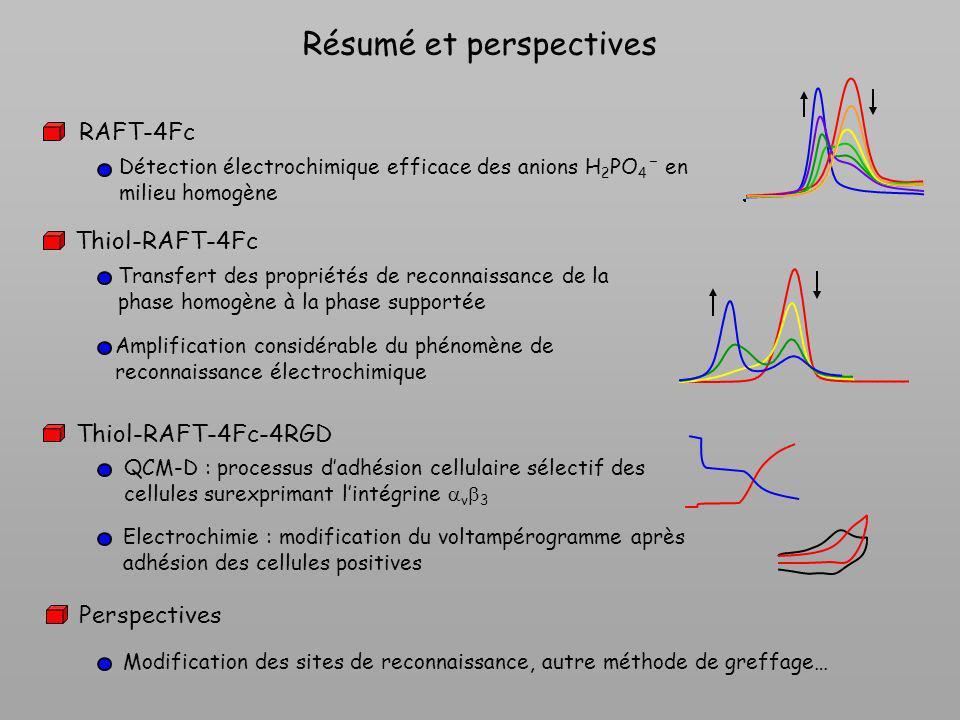 Résumé et perspectives RAFT-4Fc Thiol-RAFT-4Fc Transfert des propriétés de reconnaissance de la phase homogène à la phase supportée Amplification cons