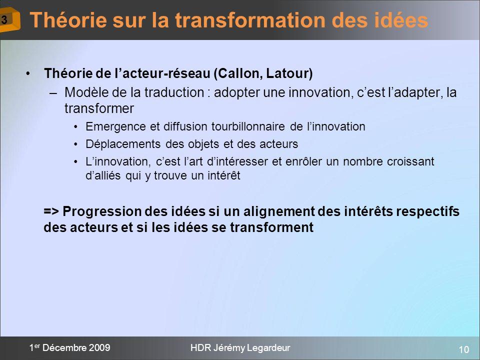 10 1 er Décembre 2009HDR Jérémy Legardeur Théorie de lacteur-réseau (Callon, Latour) –Modèle de la traduction : adopter une innovation, cest ladapter,