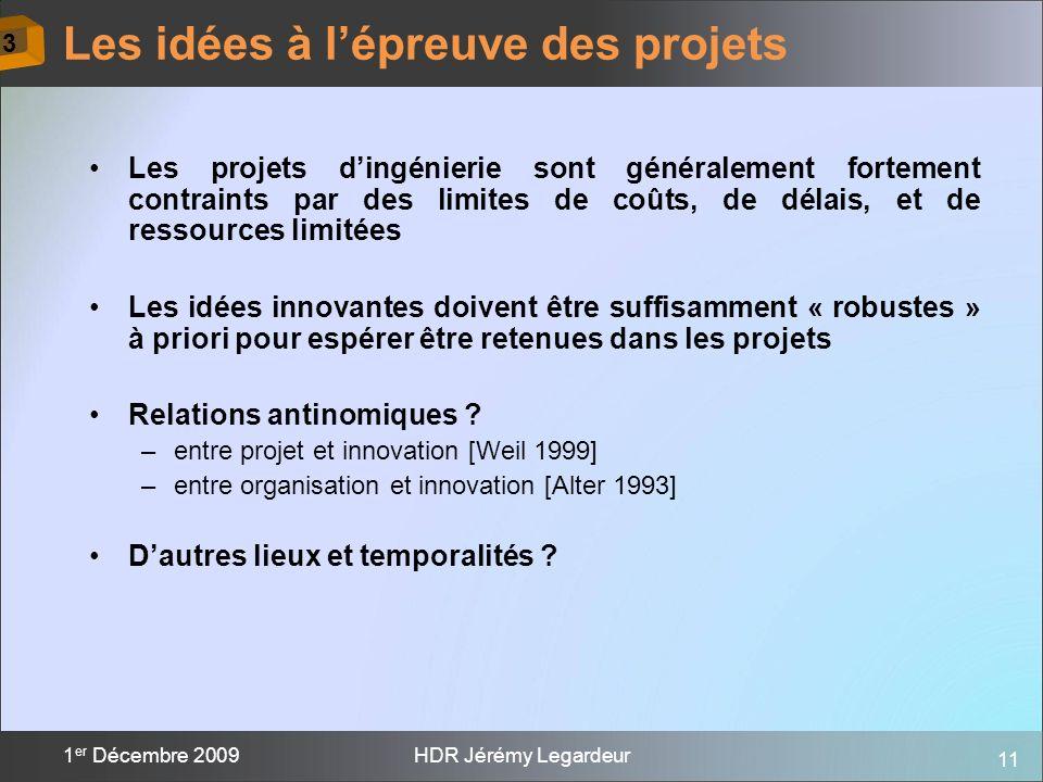 11 1 er Décembre 2009HDR Jérémy Legardeur Les projets dingénierie sont généralement fortement contraints par des limites de coûts, de délais, et de re