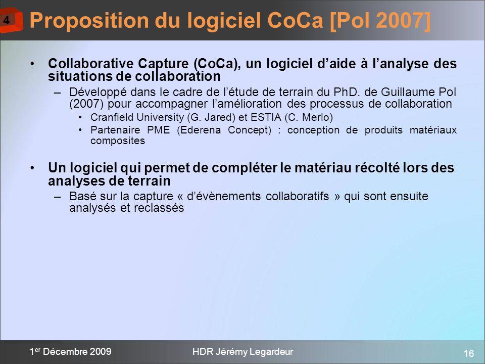 16 1 er Décembre 2009HDR Jérémy Legardeur Collaborative Capture (CoCa), un logiciel daide à lanalyse des situations de collaboration –Développé dans l