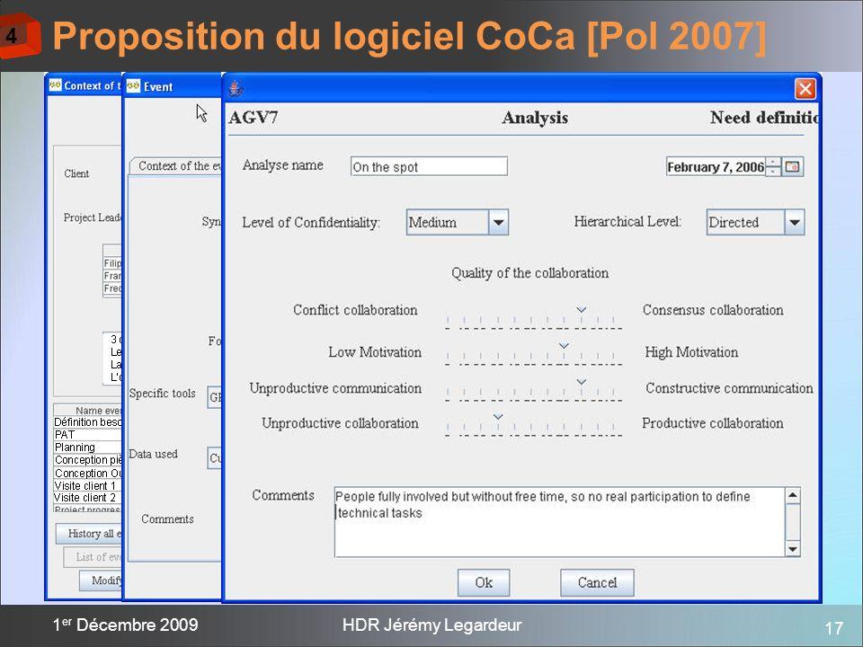 17 1 er Décembre 2009HDR Jérémy Legardeur Proposition du logiciel CoCa [Pol 2007] 4
