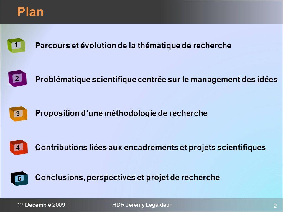 2 1 er Décembre 2009HDR Jérémy Legardeur Plan 1 2 3 4 5 Parcours et évolution de la thématique de recherche Problématique scientifique centrée sur le