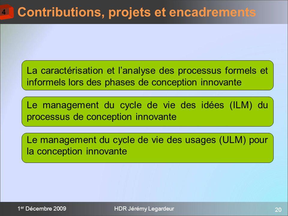 20 1 er Décembre 2009HDR Jérémy Legardeur Contributions, projets et encadrements La caractérisation et lanalyse des processus formels et informels lor