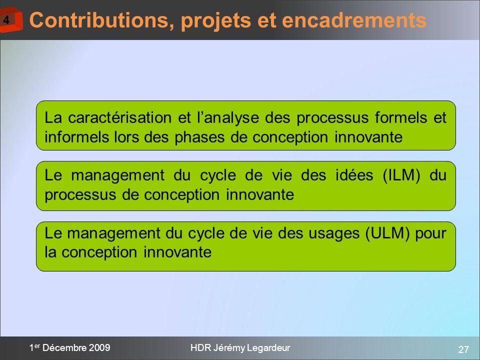 27 1 er Décembre 2009HDR Jérémy Legardeur Contributions, projets et encadrements La caractérisation et lanalyse des processus formels et informels lor