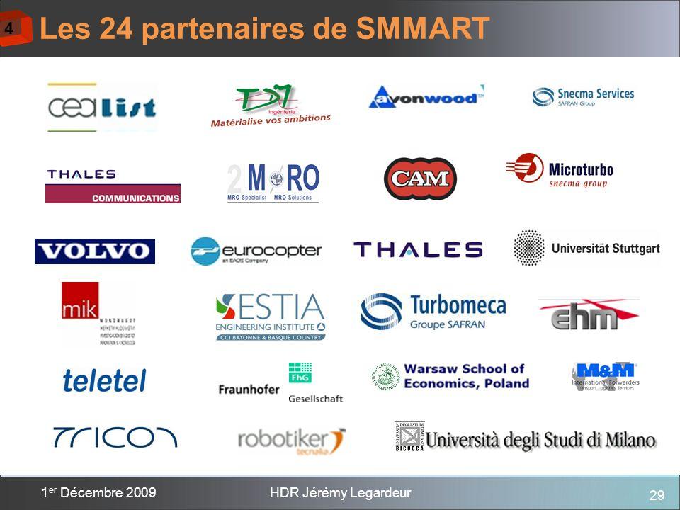 29 1 er Décembre 2009HDR Jérémy Legardeur Les 24 partenaires de SMMART 4