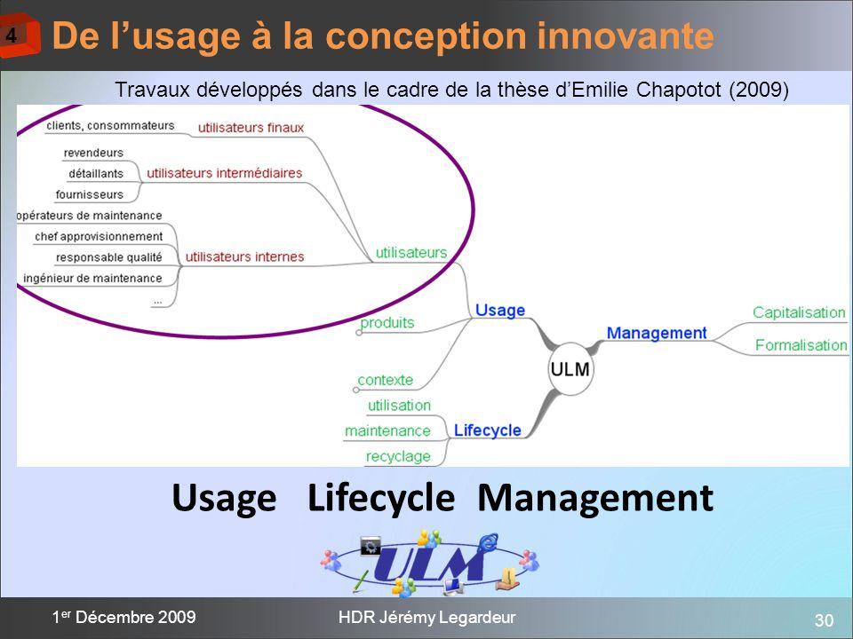 30 1 er Décembre 2009HDR Jérémy Legardeur De lusage à la conception innovante Usage Lifecycle Management Comment créer de la valeur à partir des usage
