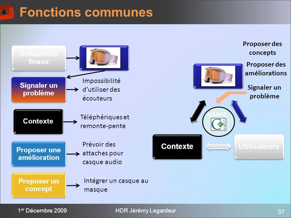 37 1 er Décembre 2009HDR Jérémy Legardeur Proposer des concepts Produit Utilisateurs finaux Contexte Signaler un problème Téléphériques et remonte-pen