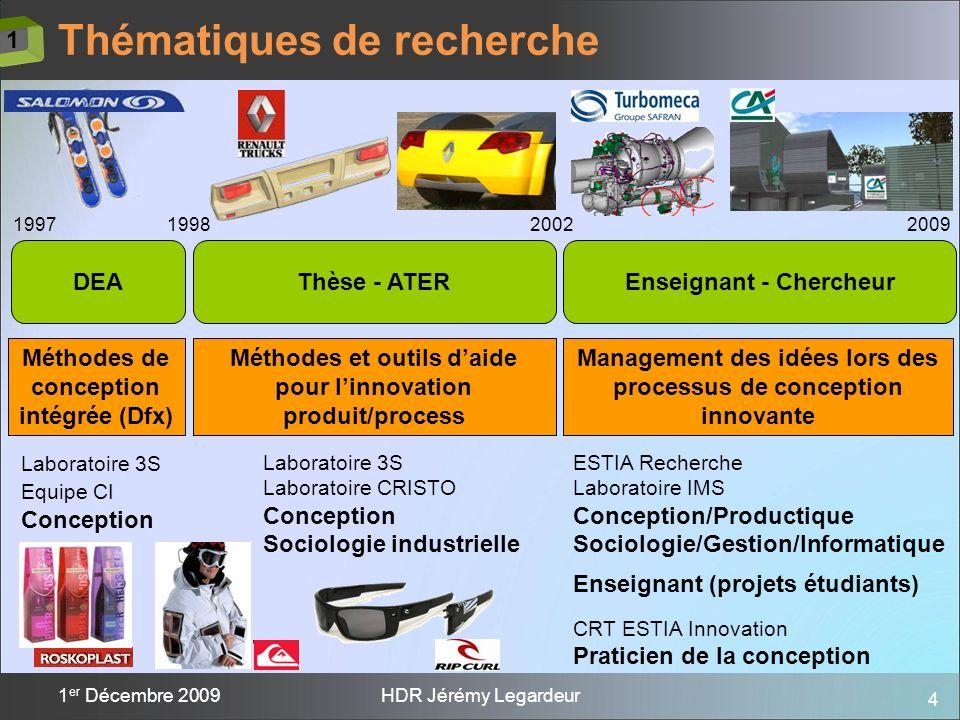 4 1 er Décembre 2009HDR Jérémy Legardeur Thématiques de recherche 199719982009 Méthodes de conception intégrée (Dfx) Thèse - ATERDEA 2002 Enseignant -