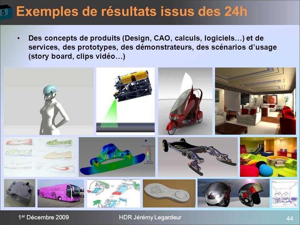 44 1 er Décembre 2009HDR Jérémy Legardeur Des concepts de produits (Design, CAO, calculs, logiciels…) et de services, des prototypes, des démonstrateu