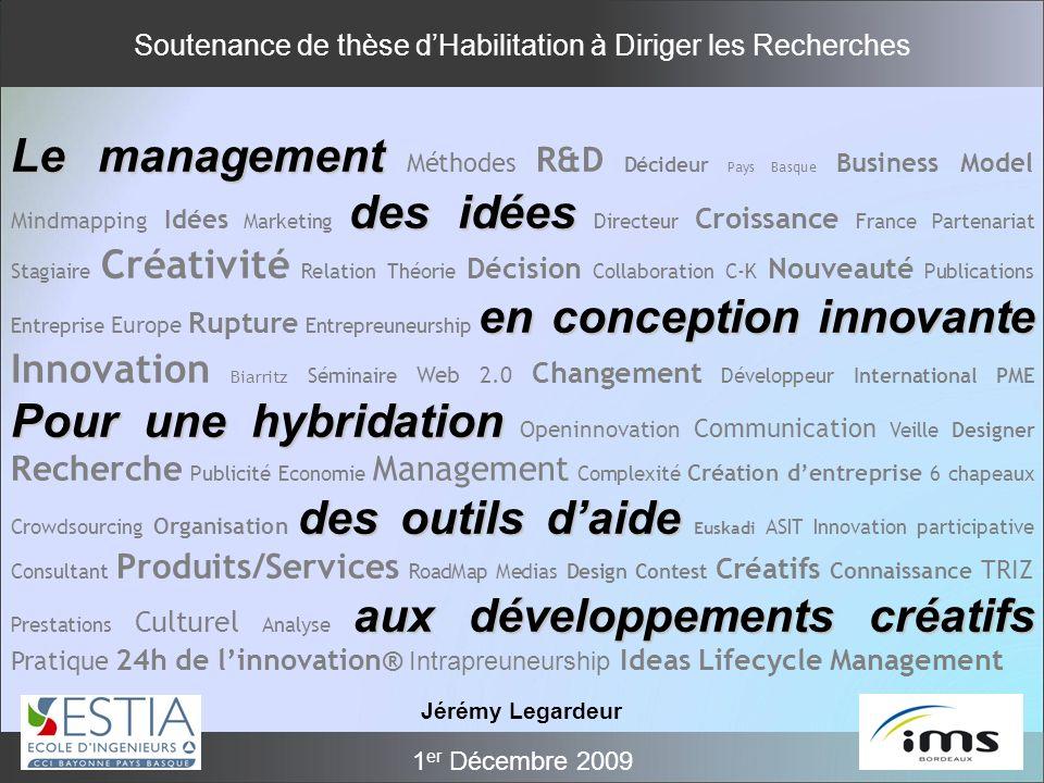 Soutenance de thèse dHabilitation à Diriger les Recherches 1 er Décembre 2009 Le management des idées en conception innovante Pour une hybridation des